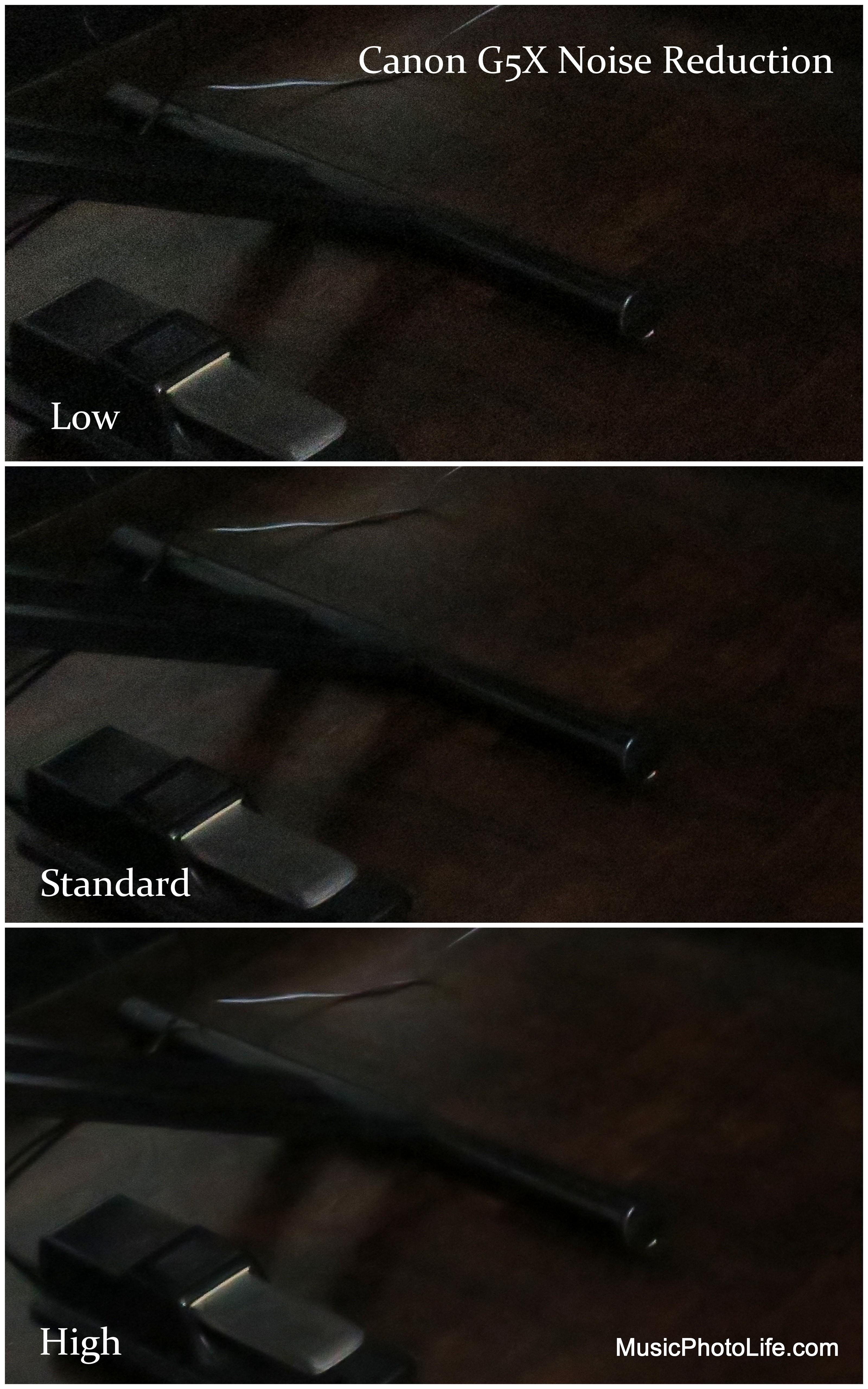 Canon G5X noise reduction levels