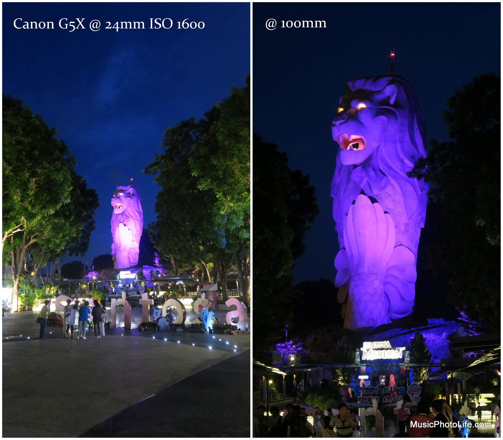 Canon G5X sample images of Merlion at Sentosa