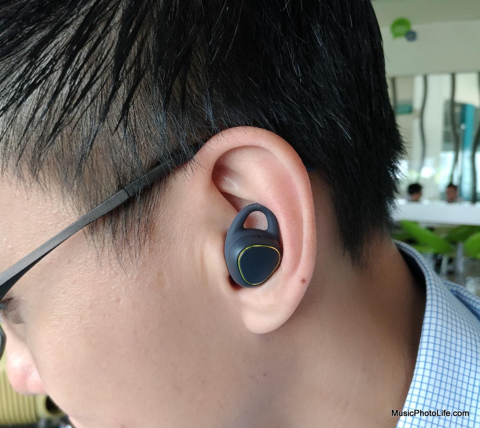 Samsung Gear IconX on ear