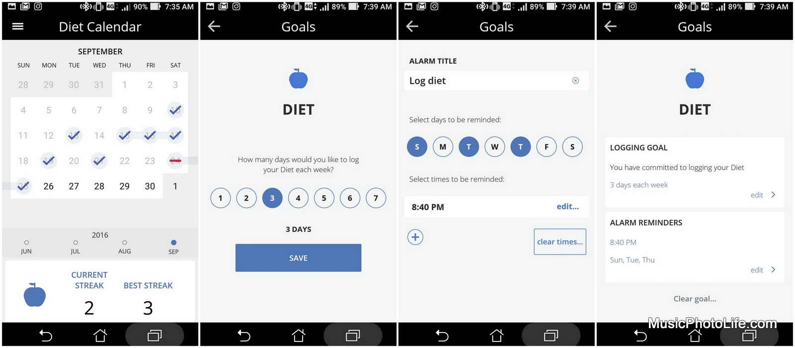 Striiv smartphone app, tracks diet and configures reminders