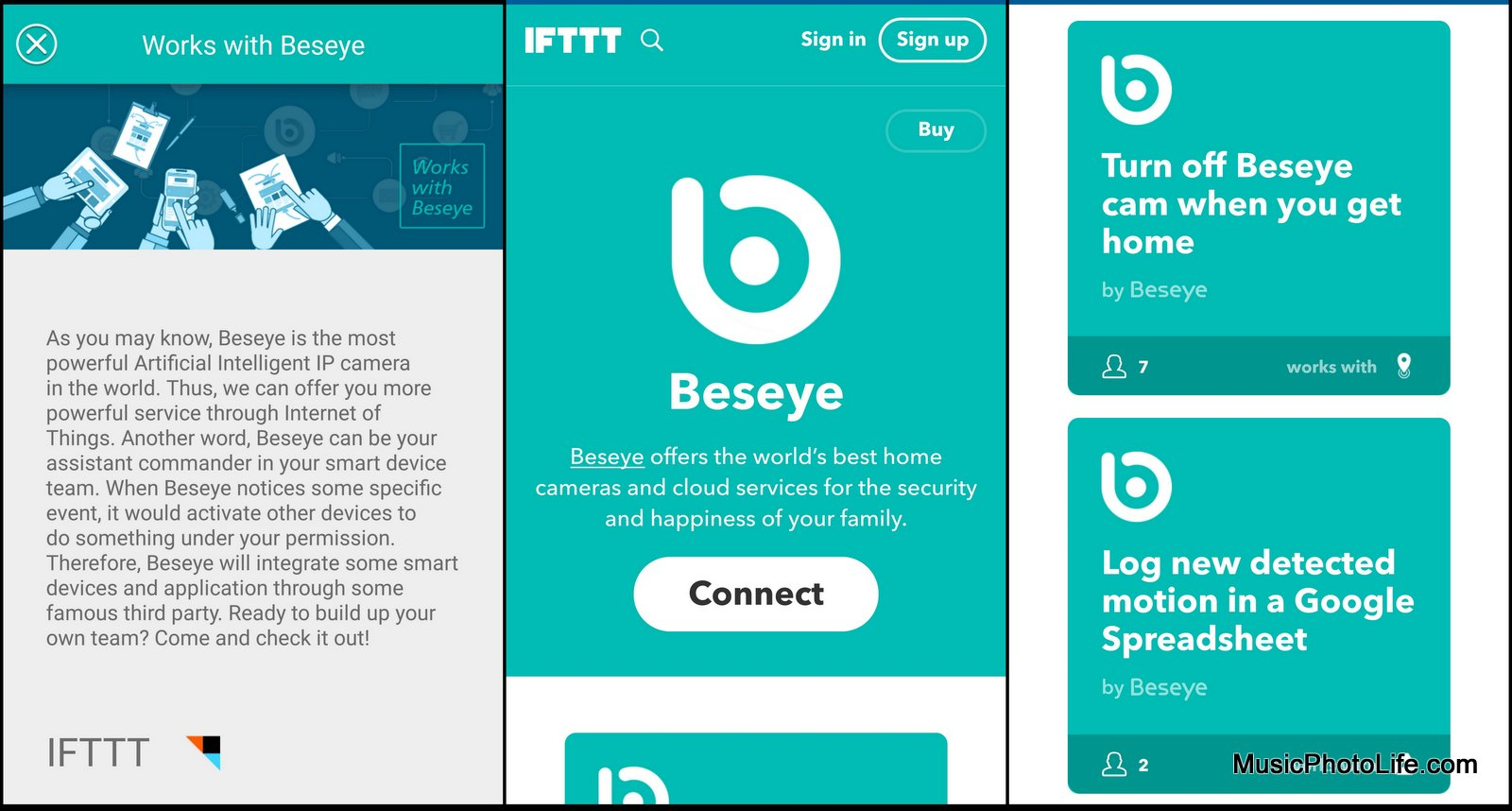 Beseye supports IFTTT - app screen shots