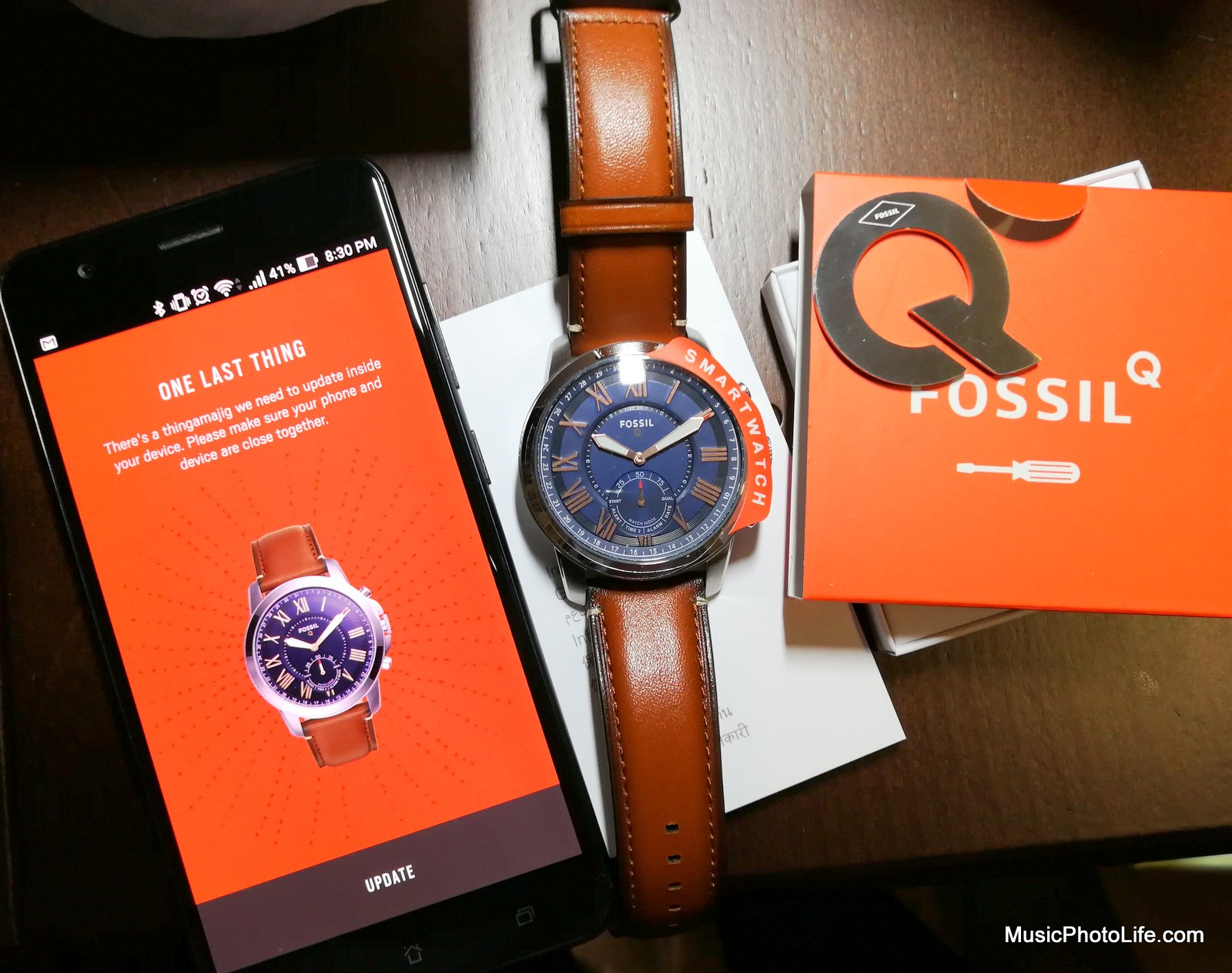 Fossil Q Grant - hybrid smartwatch review by musicphotolife.com