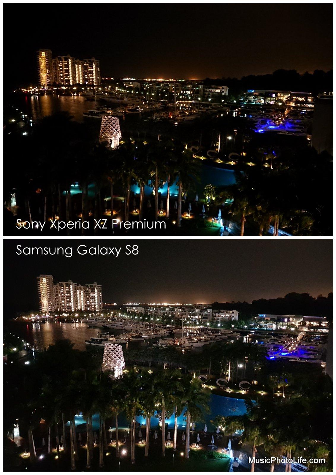 Compare Samsung Galaxy S8, Sony Xperia XZ Premium night scene