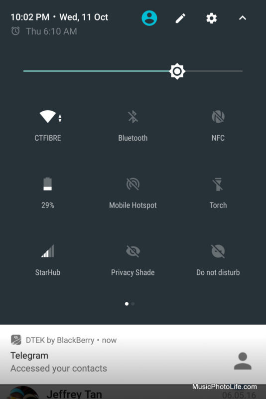 BlackBerry KEYone Black Edition - DTEK alert