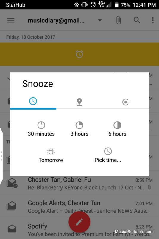 BlackBerry KEYone Black Edition - BlackBerry Hub snooze screenshot