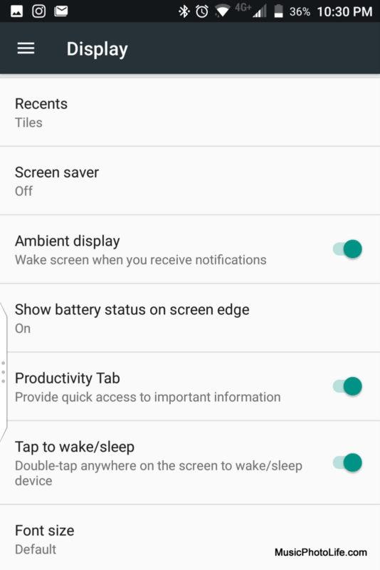 BlackBerry KEYone Black Edition - Display setting screenshot