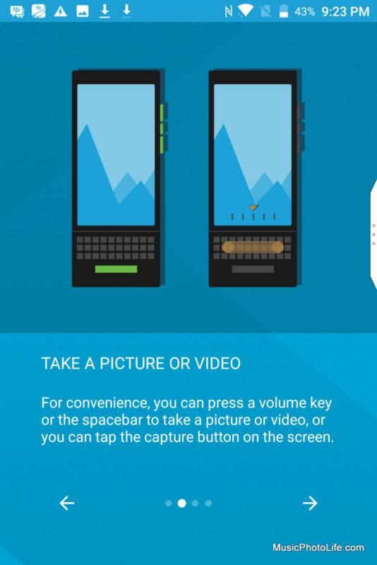 BlackBerry KEYone Black Edition screen shot - camera app guide