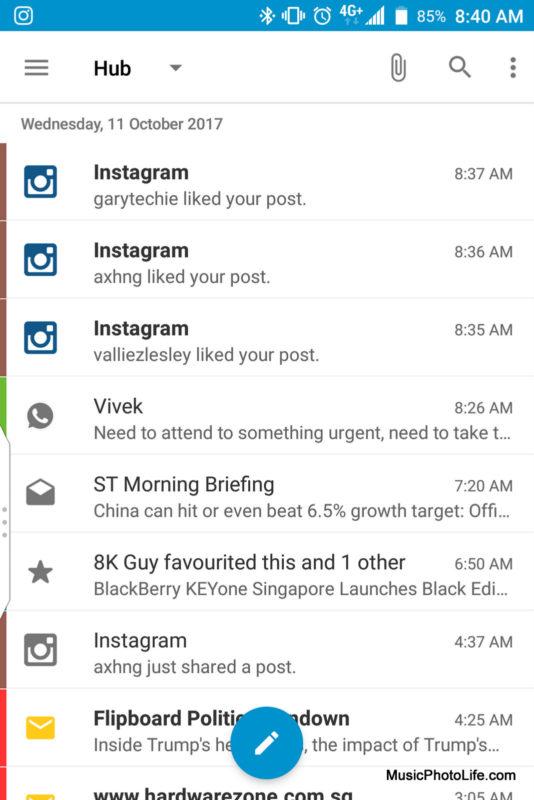 BlackBerry KEYone Black Edition - BlackBerry Hub screenshots