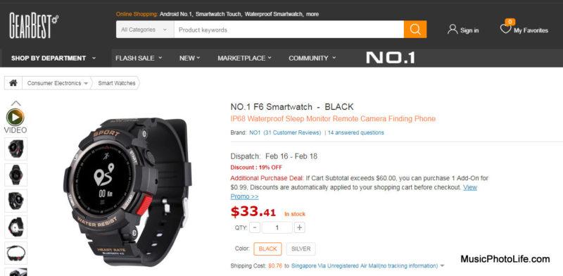 NO.1 F6 Smartwatch GearBest website