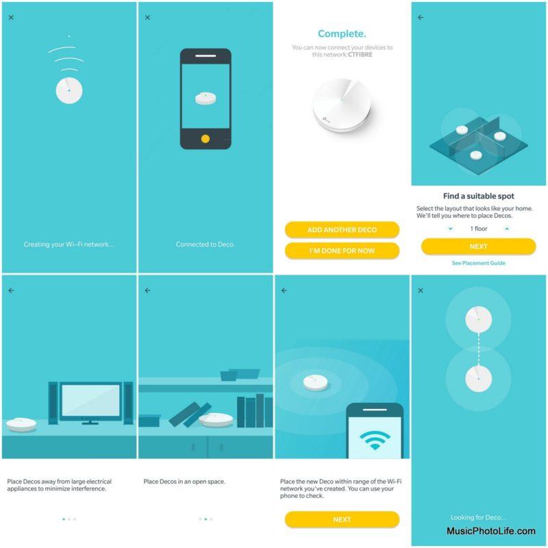 TP-Link Deco M9 Plus app - setup screen flow