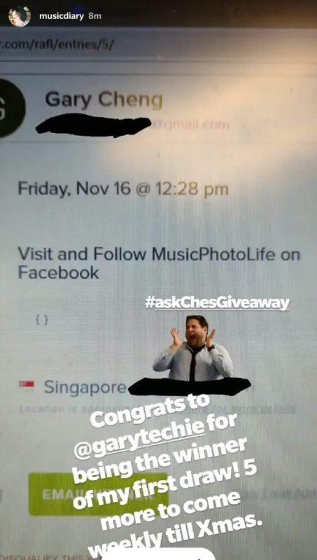 Music Photo Life Christmas 2018 Contest Giveaway 21 Nov winner Gary Cheng