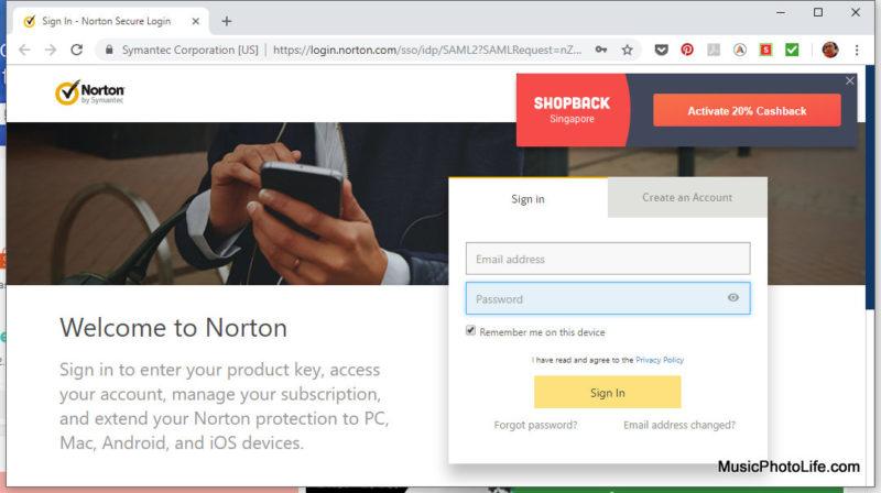 Shopback Cashback Buddy prompts on Norton website