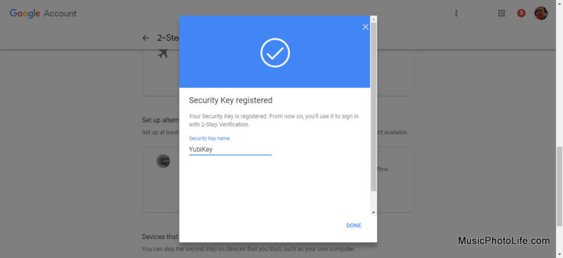 YubiKey on Google