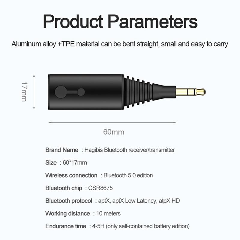 Hagibis Bluetooth 5.0 Receiver Transmitter Specs