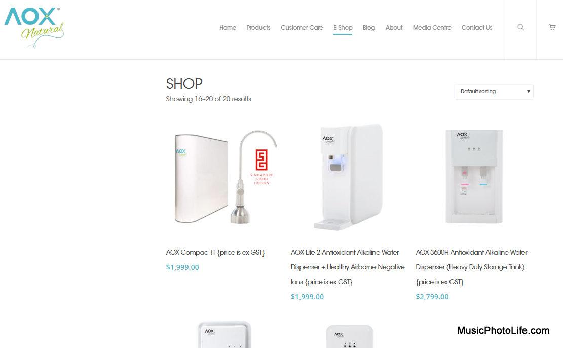 AOX alkaline water filtration system eshop website