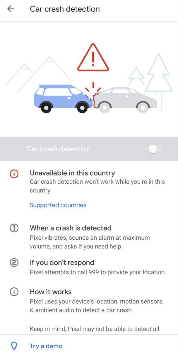 Google Pixel 4XL Car Crash Detection Feature