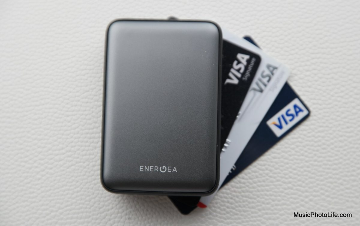 EnerGea ComPac AluMini 10000mAh powerbank compares with credit card