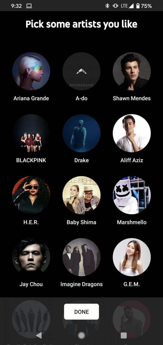 YouTube Music launches in Singapore - choose artist page