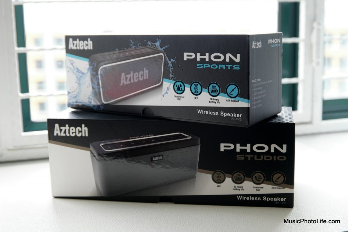 Aztech PHON Sports and PHON Studio retail box