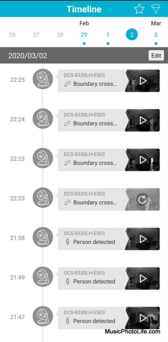 D-Link DCS-8330LH Smart AI WiFi Camera view timeline on mydlink app
