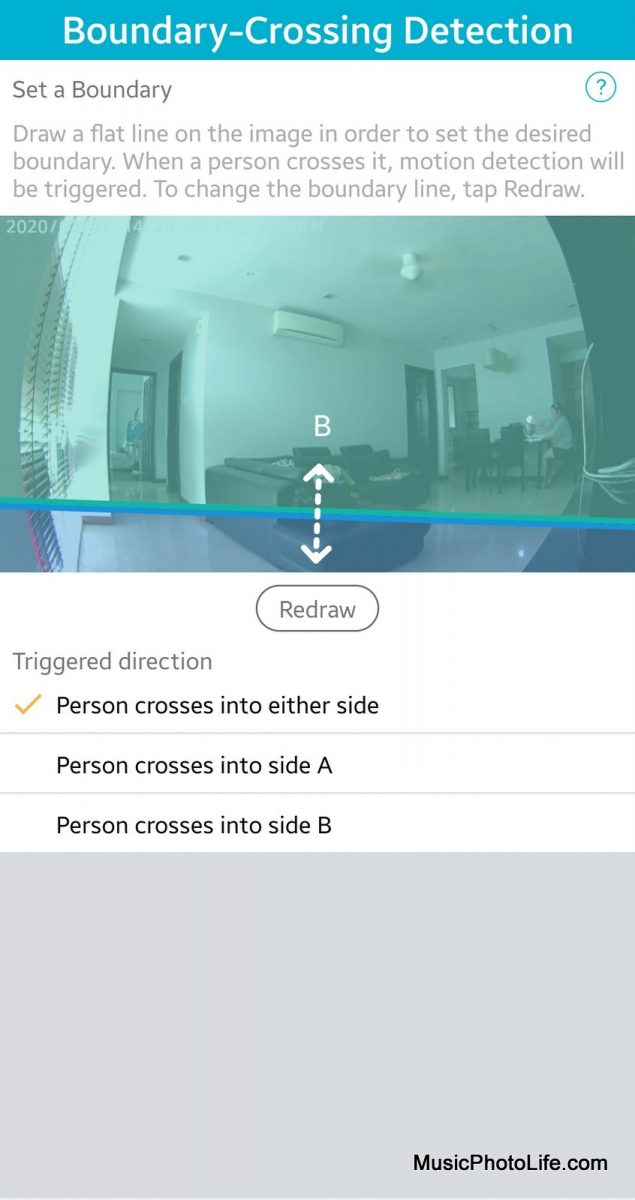 D-Link DCS-8330LH Smart AI WiFi Camera boundary-crossing detection settings on mydlink app