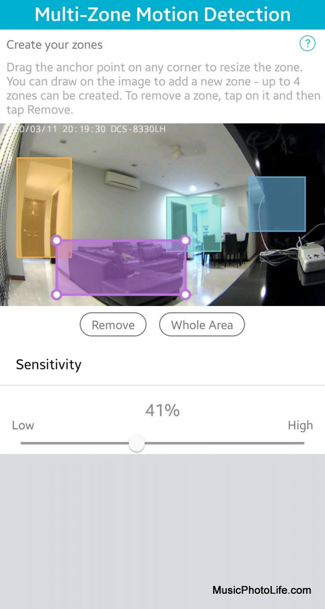 D-Link DCS-8330LH Smart AI WiFi Camera multi-zone motion detection settings on mydlink app