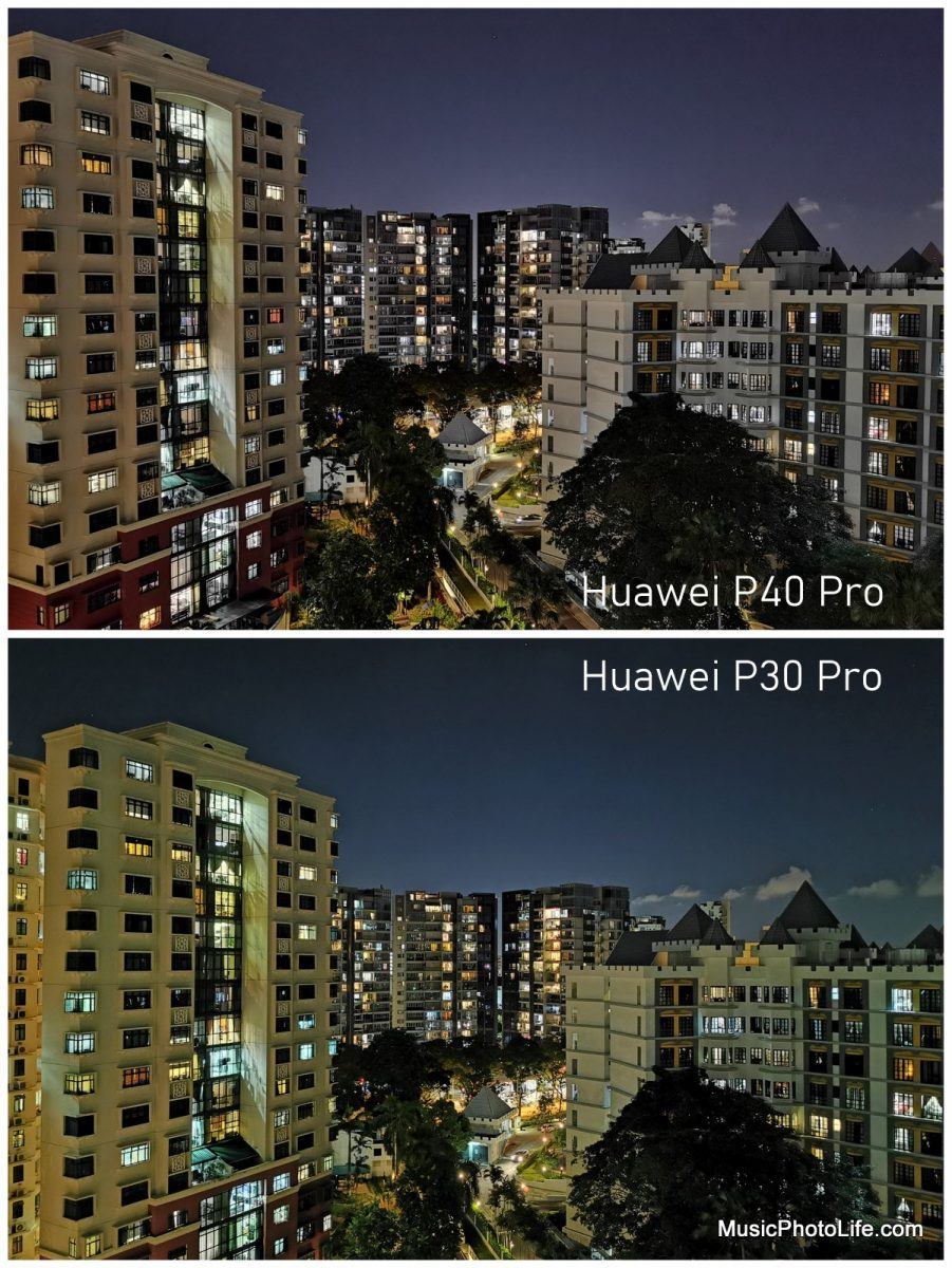 Compare Huawei P40 Pro with P30 Pro - night