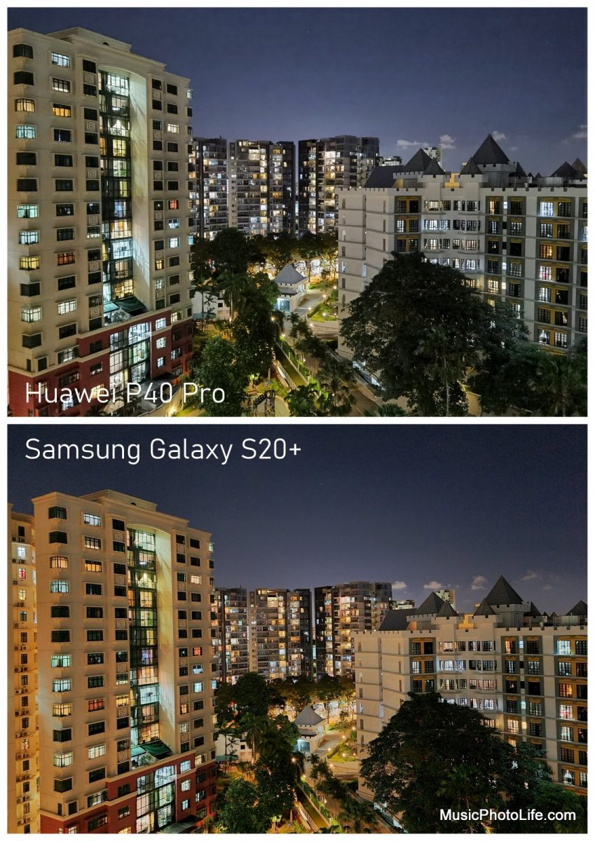 Compare Huawei P40 Pro with Samsung Galaxy S20+ - night