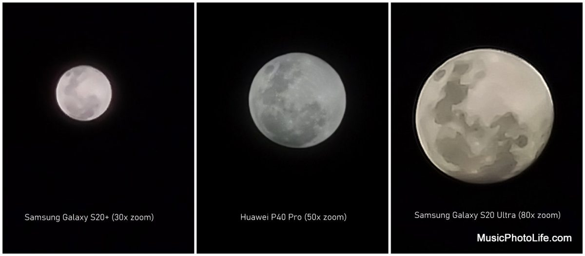 Compare Huawei P40 Pro with Samsung Galaxy S20+ vs S20 Ultra - moon