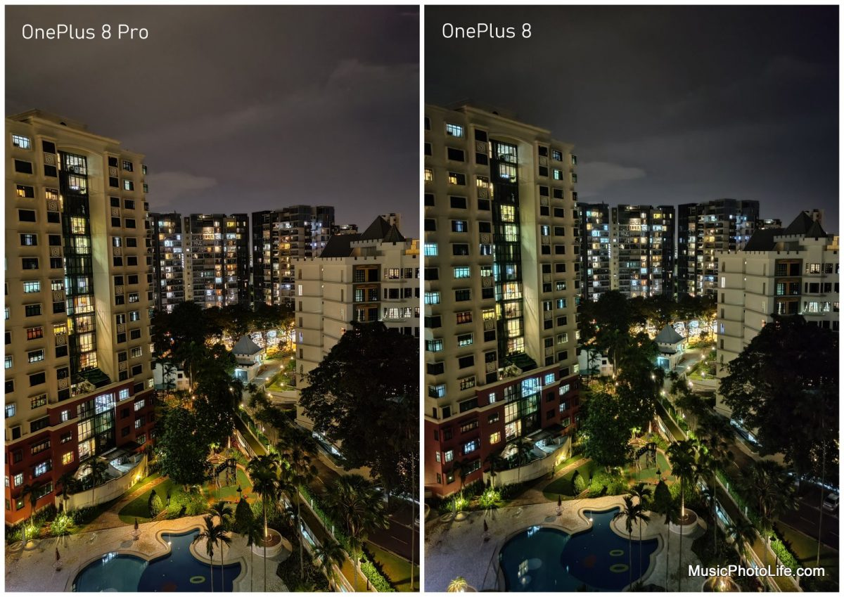 Comparing OnePlus 8 and OnePlus 8 Pro - night