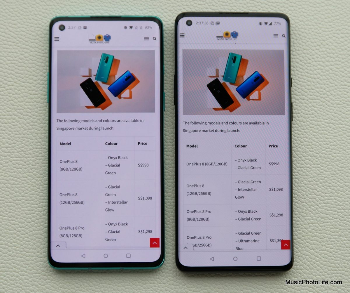 Comparing OnePlus 8 and OnePlus 8 Pro - screen display